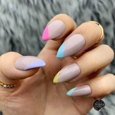 Short Stiletto pastel nail design