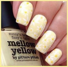 Yellow Flower pastel nail design