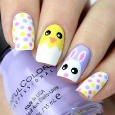 Bunny and Egg Easter Nail Design