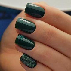 Green Gel Square Nail Design