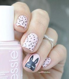 Matte bunny Easter Nail Design