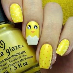 Yellow Easter eggs Nail Design