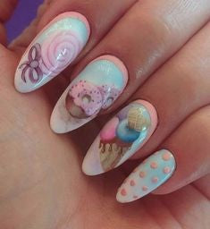 Water Decals Candy Nail Idea