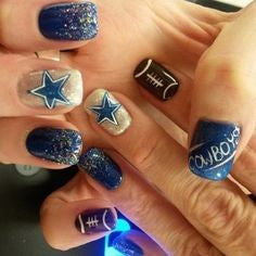 Blue Super Bowl Nail Design