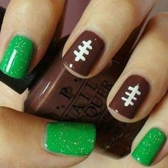 Green Super Bowl Nail Design