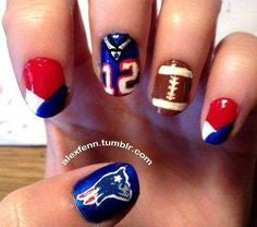 Number 12 Super Bowl Nail Design