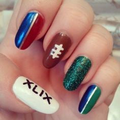 Colorful Super Bowl Nail Design