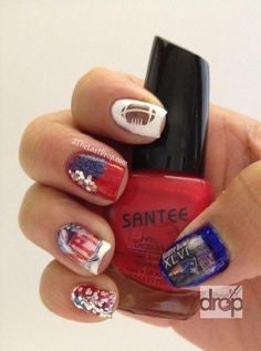 Decals Super Bowl Nail Design
