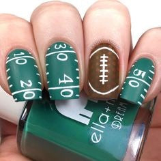 Football field Super Bowl Nail Design