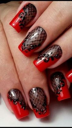 Red Coffin Halloween Nail Design