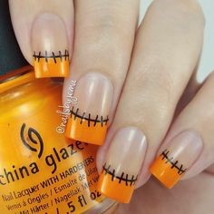 Like French style sewn up Halloween Nail Design