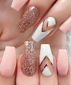 Gold and Pink Acrylic Nail Design