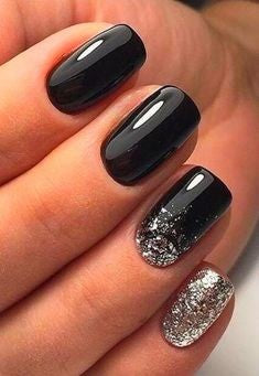 Black and Sliver Acrylic Nail Design