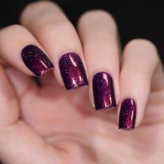 Purple Glitter Acrylic Nail Design
