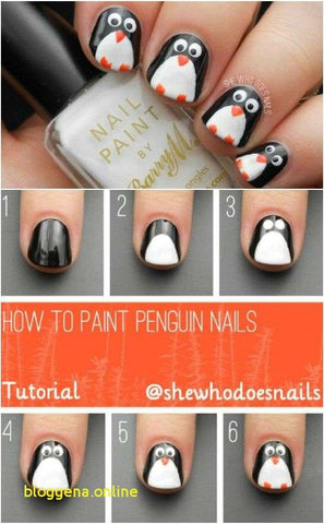 penguin nail design tutorial
