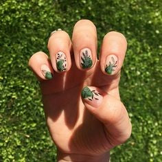 Green Leaves Nail Design