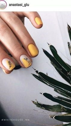 Yellow Plant Nail Design