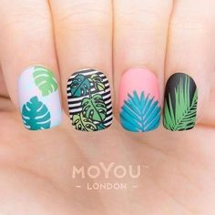 Colorful Plant Nail Design
