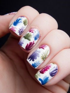 Ink painting Plant Nail Design