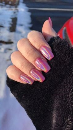 Red Holographic Nail Design