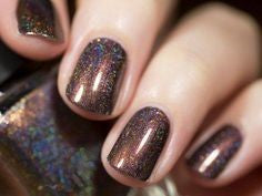 Brown Holographic Nail Design