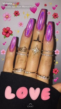 Pink Holographic Nail Design