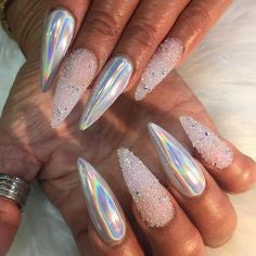 Nude Holographic Nail Design