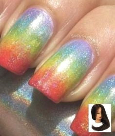 Rainbow Holographic Nail Design