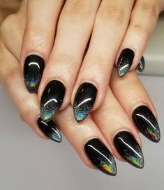 Black Holographic Nail Design