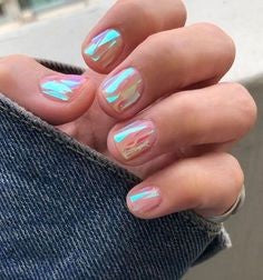 Short Square Holographic Nail Design