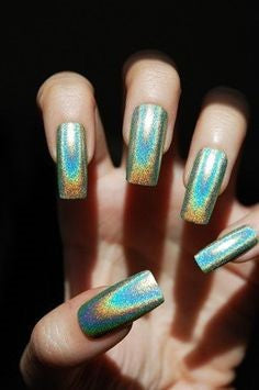 Long Square Holographic Nail Design