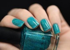 Turquoise Holographic Nail Design