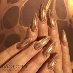 Gold Holographic Nail Design