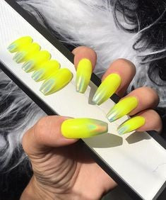 Yellow Holographic Nail Design