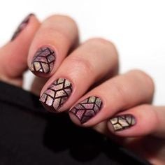 Glass painting Holographic Nail Design