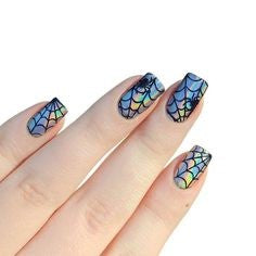Spider Web Holographic Nail Design