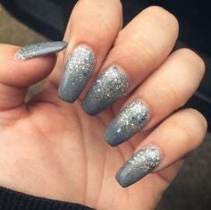 Long Square Silver Nail Design