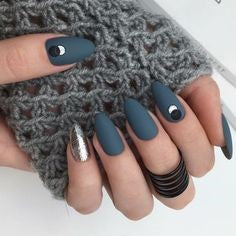 Matte Navy and Silver Nail Design
