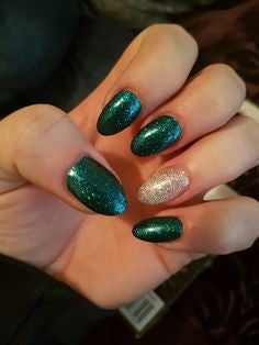 Glitter Green and Silver Nail Design