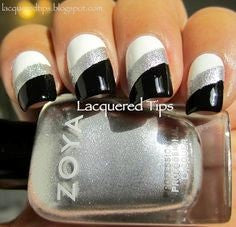 White Black and Silver Nail Design