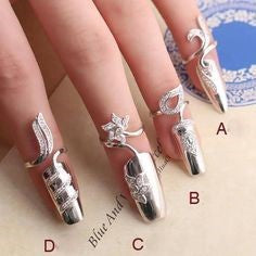 Silver Decorations Nail Design