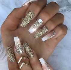 Gold Glitter and white Coffin nails