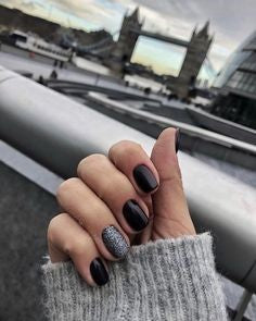 Gel Black Nail Design