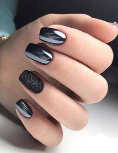 Black Metallic Nail Design