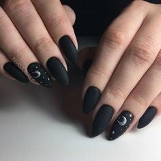 Almond Black Nail Design