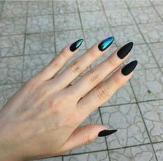 Holographic Black Nail Design