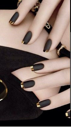 French Gold and Black Nail Design