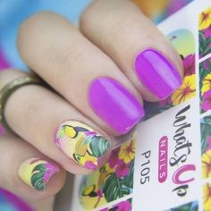 Yellow Flower Water Decals Nail Design