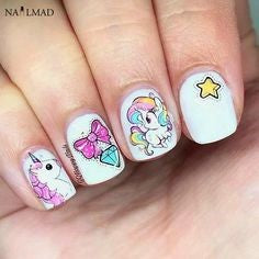 Unicorn Water Decals Nail Design