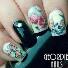 Skull Water Decals Nail Design